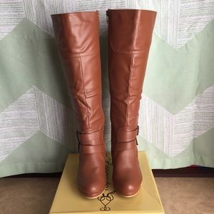 Below Knee Tan Boots